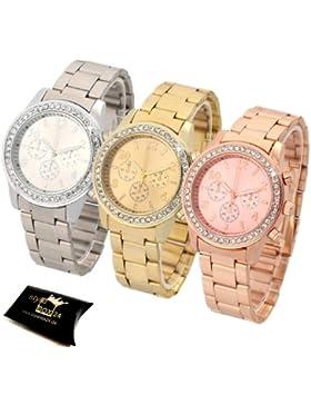 3'er Uhren Set in Farbe: Gold Rosegold Silber / Damenuhr Armbanduhr in Chronograph Optik Trenduhr Edelstahl Uhr...