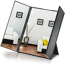 KYG Espejo Plegable con 8 Leds con Interruptor Tactil Espejo de Maquillaje Portatil de Bolso Negro