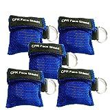 KAIMENG CPR Mask Portachiavi Anello Kit di emergenza Salvaschermo di salvataggio con valvola di respirazione a valvola unidirezionale per pronto soccorso o addestramento DAE 5 pezzi (blu)
