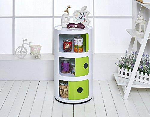 WEN Lagerregal Lager Regal Kunststoff Kinder Kleiderschrank Runde Nachtschränkchen Kombination Finishing Cabinet Storage Cabinet (Farbe : Green+White, größe : 4 Floors) - Runde Cabinet