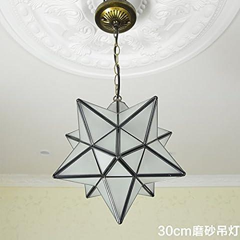 LYNDM soffitto luce stelle Home Ciondolo lampada illuminazione lampadario per camera da letto Hall 30cm glassato vetro lampadari illuminazione