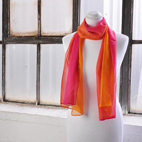 Tie dye mèches Bicolore Écharpe en mousseline de soie écharpe léger islamique - Fuchsia Tone