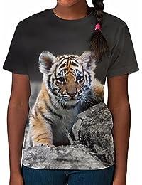 Tshirt imprimé partout pour fille Bébé Tigre Haut imprimé Vêtements été
