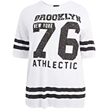 Chocolate Pickle® Neue Damen Plain gestreifte Baseball Sackartiges-T-Shirts ,36-