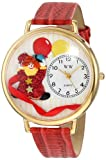 Whimsical Watches Unisex-Armbanduhr Happy Red Clown Red Leather And Goldtone Watch #G0210003 Analog Leder mehrfarbig G-0210003