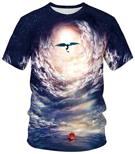 Ocean Plus Unisex Casual 3D Druck Fasching Kurzarm T-Shirts Partnerlook Karneval Digitaldruck Streetwear Shirt (3XL (Referenzhöhe: 180-185 cm), Fliegender Drache) -
