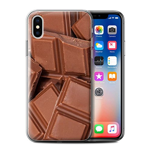 Stuff4 Gel TPU Hülle / Case für Apple iPhone X/10 / Oliven Muster / Lebensmittel Kollektion Schokolade
