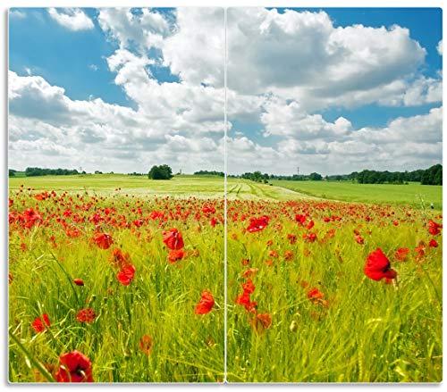 Herdabdeckplatte / Spritzschutz aus Glas, 2-teilig, 60x52cm, für Ceran- und Induktionsherde, Grüne Wiese mit Mohnblumen