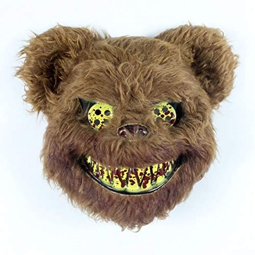 Kostüm Erwachsene Tier Niedlichen Für - CGBF-Halloween Maske Bloody Rabbit Mask Plüsch Cosplay Niedlichen Tier Maske Scary Rabbit Mask Maskerade Karneval Prop Headwear Bär Maske Kostüm,Bloodybrownbear
