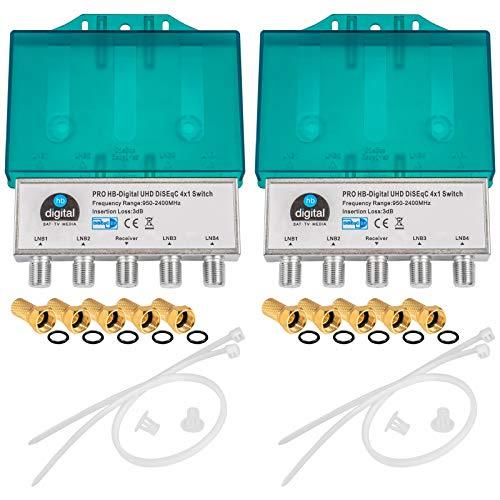 2X PRO DiseqC Schalter Switch 4/1 mit Wetterschutzgehäuse HB-DIGITAL 4X SAT LNB 1 x Teilnehmer / Receiver für Full HDTV 3D 4K UHD + 10 x Vergoldete F-Stecker Vergoldet Multi-lnb-sat