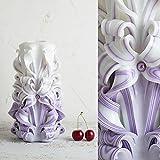 Groß, Weiß und Lila - sanfte Farben - dekorativ geschnitzte Kerze - EveCandles