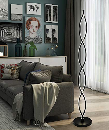 Fofofs Kreative Stehleuchte Twist Wave LED Tischleuchte Schlafzimmer Wohnzimmer Warm Dimmbar Pedalschalter Vertikale Lampe/Aluminium/LED Maximal 46W (Color : Black-A Warm yellow light) -