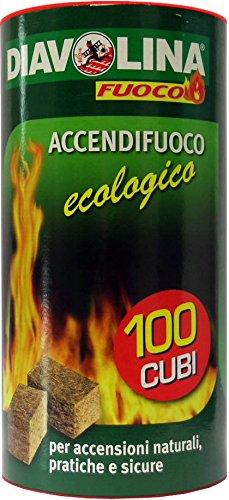 6x DIAVOLINA accendifuoco ecológico 100Cubos