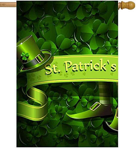 St. Patricks Day Green Floral Abstract Shamrock Clover Ireland Lucky Hat House Flag Double Sided Polyester Welcome Yard Garden Flag Banners for Patio Lawn Home Outdoor Decor(Size: 28inch W X 40inch H) Notre Dame Shamrock Green