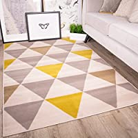 Milan Ochre Mustard Yellow Grey Beige Harlequin Triangles Traditional Living Room Rug by The Rug House