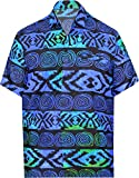 LA LEELA Pulsante ntage Surf Fino Camicie hawaiane per Gli Uomini ut_2766 Blu Brillante 550 XL