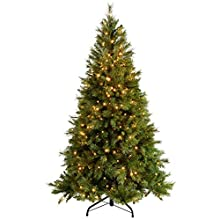 WeRChristmas Pre-Lit Victorian Pine Multi-Function Christmas Tree with 400 Warm White LED Lights, Green, 6 feet/1.8 m