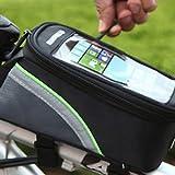 Fafada Bolsa Bicicleta Impermeable Bolsa Móvil de Bici Bolso del tubo Pantalla PVC Transparente para Iphone GPS Clés Negro