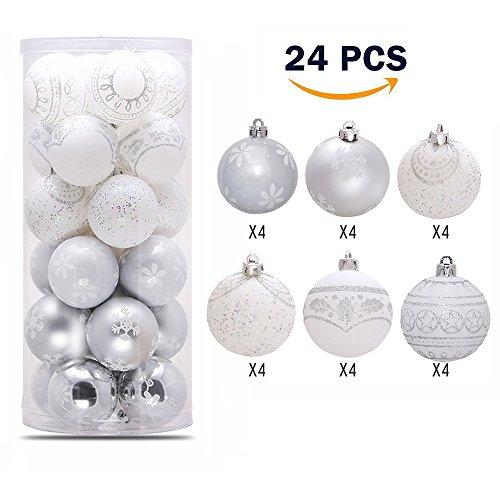 Silber und Weiß Bruchsicher Weihnachtskugeln Satz (24 Stücks),Lnkey Weihnachten Kugeln Verzierung [6cm], 6 Muster Christbaumkugeln Weihnachtskugeln ornament mit Saiten für Weihnachtsdekoration