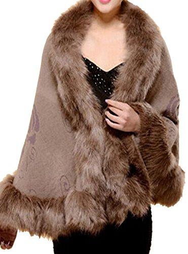 PLAER aux femmes Mode Manteau en fausse fourrure de renard Châle Cape Cap châle sauvage Kaki