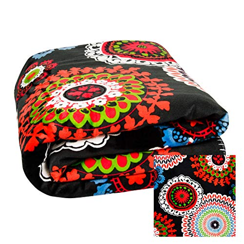 dhal Kuscheldecke mit Mandala Muster & Schaffell Optik | Decke Plaid bunt Gemustert 130x150cm