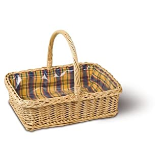 Adam Schmidt Wicker Garden Tray, Full White Willow, Henkel, + Carbon Film, Full Willow, Dimensions: 460 x 370 x 160 mm, White