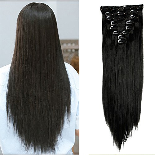 58,4cm Lange Gerade 8voller Kopf Clip in Hair Haar Extension Haarverlängerung Extensions Natur schwarz (Gerade Extensions Dickes Haar)