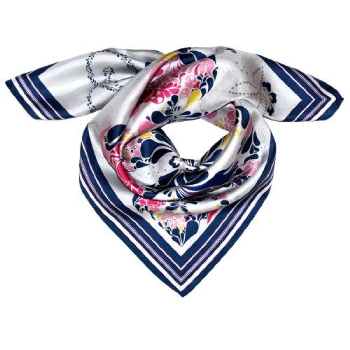 Lorenzo Cana Luxus Seidentuch aufwändig bedruckt Tuch 100% Seide 70 cm x 70 cm harmonische blau rosa weiss Farben Damentuch Schaltuch 89039 -