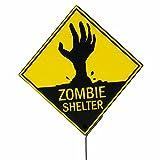 Segnale di pericolo halloween Cartello di avvertimento decorazione party Zombie Shelter Avviso decorazione horror Annuncio zona pericolosa da appendere al muro Manifesto warning zombie Segnalazione di sicurezza addobbi halloween