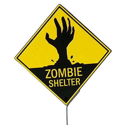 Halloween Gefahrenzeichen Warnschild Partydeko Zombie Shelter Warnzeichen Horror-Dekoration Hinweisschild Untoter Gefahrenschild Wanddeko Sicherheitsschild Gruselparty Deko