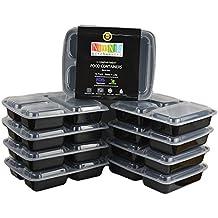 NimNik Bento Box Contenitore per cibi a tre compartimenti utilizzabile nel Microonde3 con coperchio piatto diviso pranzo vassoio con coperchio, nero, confezione da 10