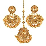 #9: I Jewels Gold Plated Designer Maang Tikka with Earring Set (Golden)