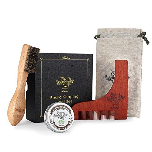 BFWood Cepillo de Barba y Peine a Juego – Cepillo para Barba + Plantilla de Moldeado de Madera + Bálsamo de Barba 30g