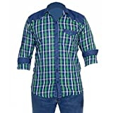 Anry Little Boys Casual Denim Green Checkered Shirts (GRN1022236_Green_13-14 Years)