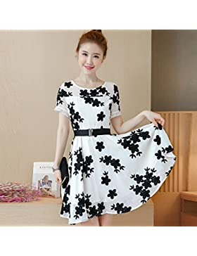Coreano de manga corta moda chiffon bordada falda larga,vestidos,XL,el color de la imagen