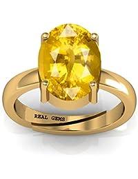 Real Gems 7.25 Ratti Natural Certified Yellow Sapphire (Pukhraj) Fine Adjustable Panchdhatu Ring for Women & Girls