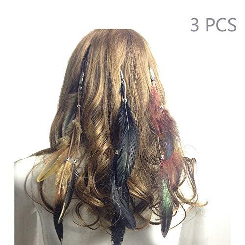 Jurxy Böhmische Pfau Feder Kopfschmuck Stirnband Damen Hippie Boho Indianer Stirnbänder Zigeuner Headwear BB Clip Frau Mädchen Lieblings Haarschmuck -3 (Zigeuner Kostüm Mädchen)