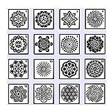H-Piano Plantillas diseño de Mandala, 16 Piezas, Diferentes Patrones, Plantillas de Pintura de Puntos, Herramientas de Arte para Bricolaje, Piedra, Arte de Pared, Lienzo, Pintura de Muebles de Madera