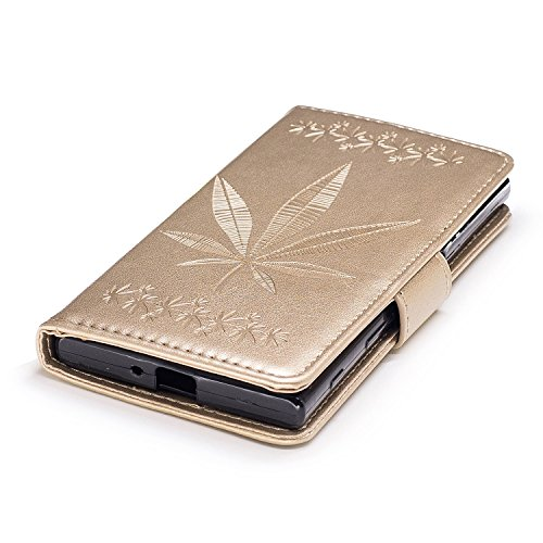 Pour Sony Xperia XZ Case Cover, Premium Soft TPU / PU en cuir gravé en érable Pattern Wallet Case avec Holder & Cash Card Slots & Lanyard ( Color : Rose ) Gold