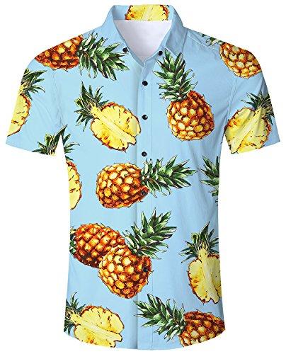 Goodstoworld Hawaiihemd Herren Freizeithemd Kurzarm Hellblau Hemd 3D Druck Ananas Sommerhemd Männer Button Down Shirt L -