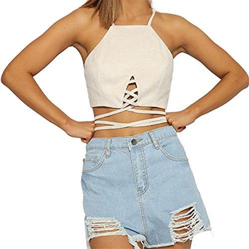 Frauen Sexy Tank tops Bustier BH Bra, LILICAT Damen Mode Crop Top Hemd Bluse Weste Cami Onlbera (Weiß, (Halter Top Kostüme)