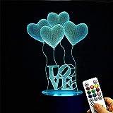 Deerbird 4 palloncini di amore cuore visiva 3D 7 Modifica del colore LED Telecomando Lampada da scrivania USB Luce notturna con Base Bianca per La madre di Giorno Regalo del festival