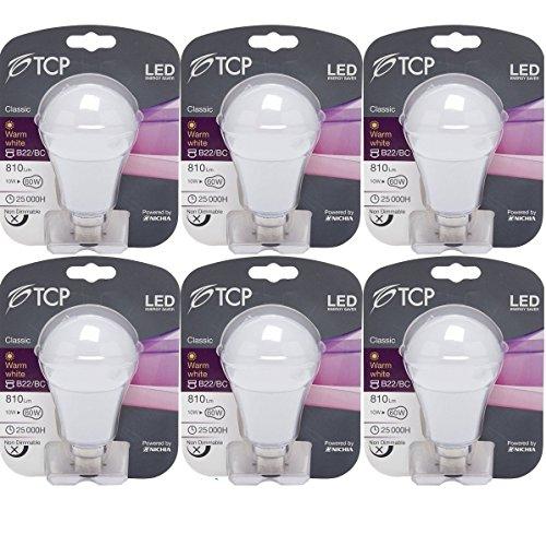 TCP LED Glühbirne 10W B22/BC GLS Bajonett (6Stück), 810Lumen, 3000K warmweiß, 230° Abstrahlwinkel, ersetzt Old 60-70W Leuchtmittel -