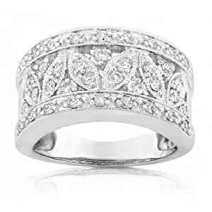 .50 Carat Vintage Wedding Ring Anniversary Band for Her in 10k White Gold