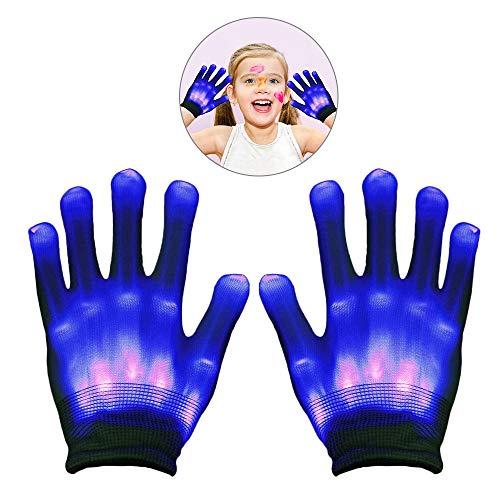 (WISHBB Geschenke für Jungen 12 Jahre alt, Leuchten LED Handschuh Flashing Skeleton Hand Handschuhe für Clubs Raves Festivals Halloween Bonfire Night Party Spiele Jungen Mädchen Geschenk)