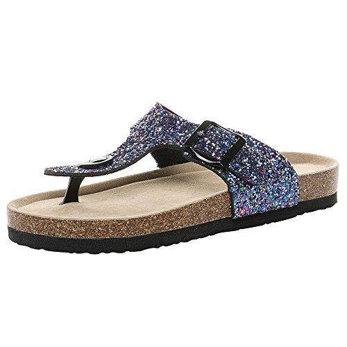 SHE.White Damen Sequin Sommer Strand Schuhe Eben Sandalen Sommer Zehentrenner Sandalen Pantoletten Mit Korkfußbett Schnallenriemen Sommerschuhe -