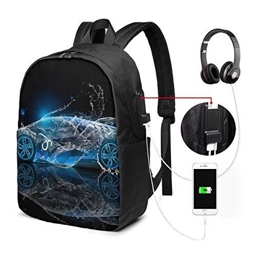Zaino per laptop da 17 pollici con borsa per scuola con porta di ricarica usb, zaini per bus per computer art car blu per zainetto per ufficio scolastico