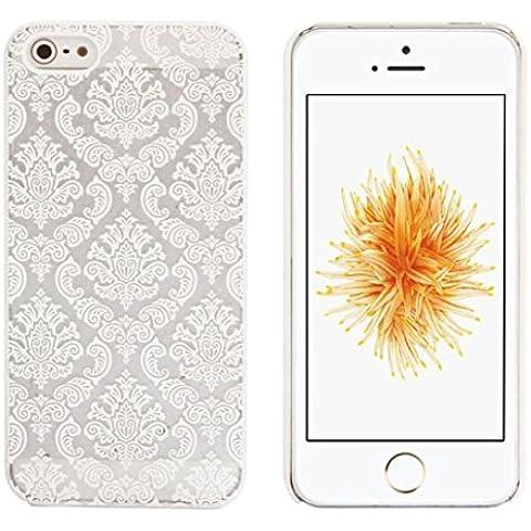 Iphone SE Cover, Ouneed® Case Cover intagliato Vintage damasco modello duro opaco per IPhone 5 5S SE,Nero/Oro/Blu/Bianco/Viola/Rosa (Bianco)