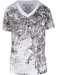 Sakkas Vines and Fleur De Lis Metallic Silver Embossed Short Sleeve V-Neck Cotton Mens Fashion T-Shirt