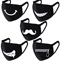 Dsaren 5 Pack Cotton Face Mask Anime Black Mouth Mask for Teens Men Women Outdoor Cycling Sport in Winter